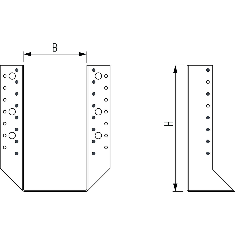 Doppelpack Stahl Feuerverzinkt, 2 St/ück GH Balkenschuh Kombi 04 Aussenliegend 100x90