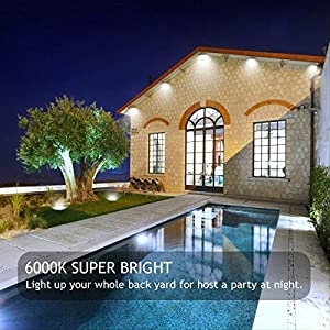 GLW Super Bright 50W Flood Light,Outdoor IP65 Waterproof Security Light,300W Halogen Bulb Equivalent with US 3-plug,6000K,4500lm,110V Daylight White Wall Light