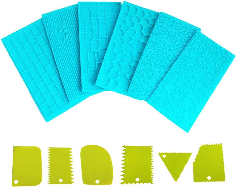 Heiqlay Moldes Pl/ásticos Grabar Glaseado Alfombrilla de Impresi/óN Fondant Fondant Esteras Tapete Pasteles 6 piezas de molde para pasteles + 6 piezas de raspador de crema, azul, verde, 14 cm x 7 cm