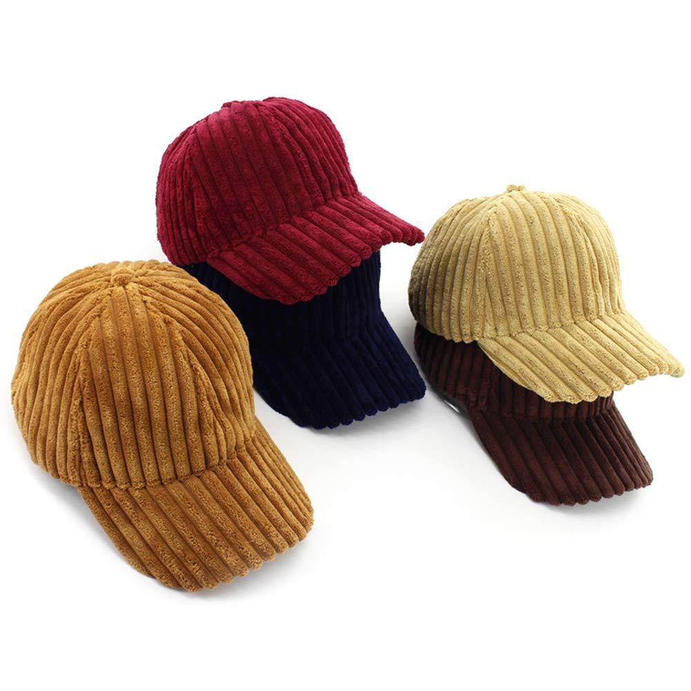 YMCHE Unisex Corduroy Cap Adjustable Baseball Caps Solid Dad Hat Winter Warm Stripes Corduroy Baseball Hat for Camping