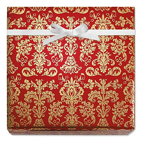 - Red Elegance Foil Rolled Gift Wrap - 38 sq. ft. metallic wrap