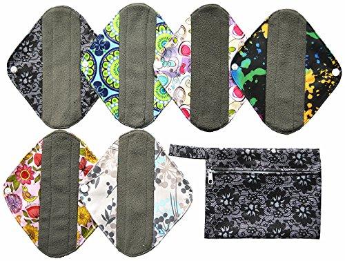 7pcs-set-1pc-mini-wet-bag-6pcs-8-inch-charcoal-bamboo-mama-cloth-menstrual-pads-reusable-sanitary-pa