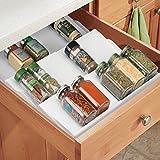 mDesign Expandable Kitchen Spice Organizer Rack for Herbs, Salt, Pepper, Cinnamon, Ginger, Garlic - 3-Tier, White