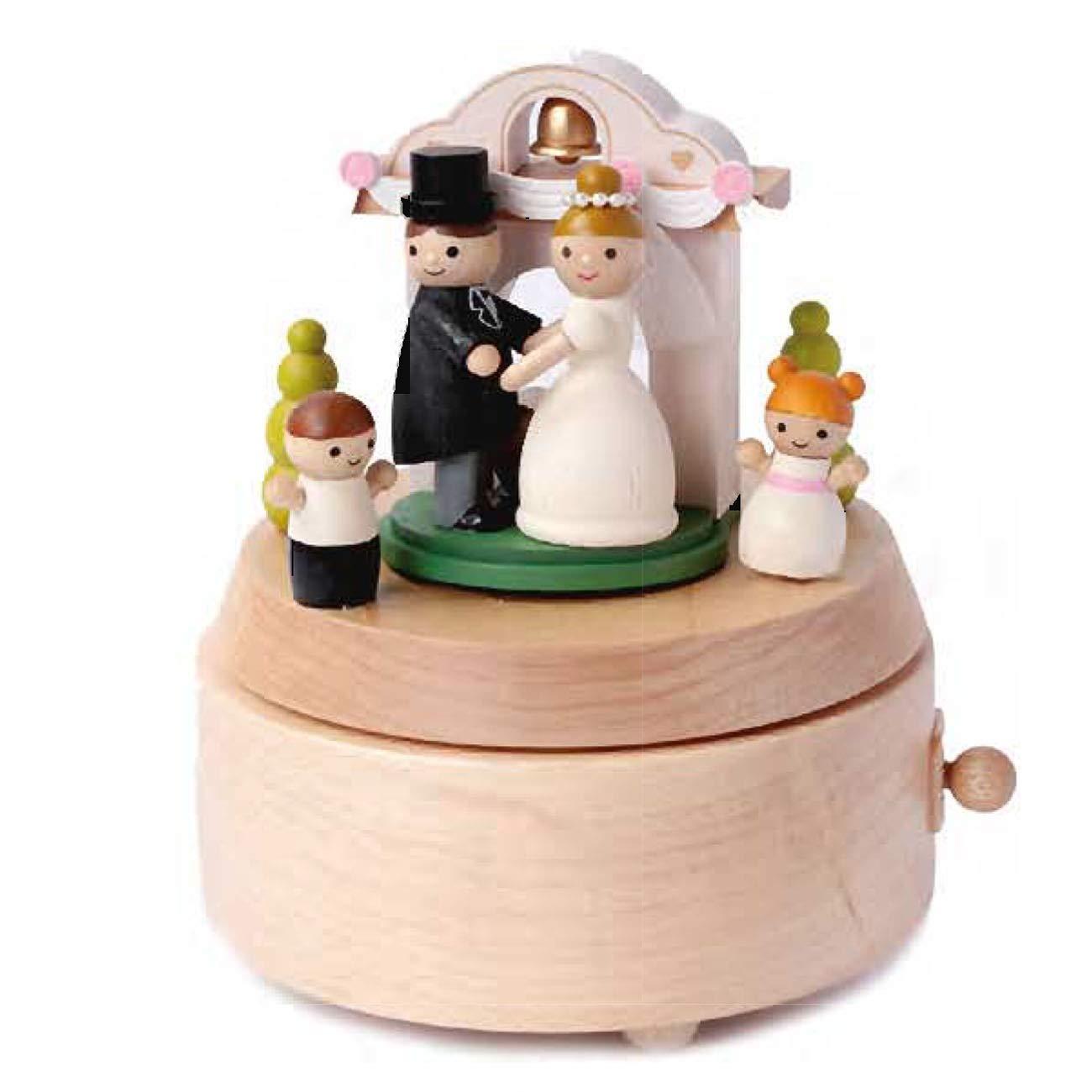 Carillon in Legno Artigianale Sposi con Doppia Rotazione Wooderful life