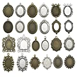 20pcs 18x25mm Oval Bezel Pendant Base Trays