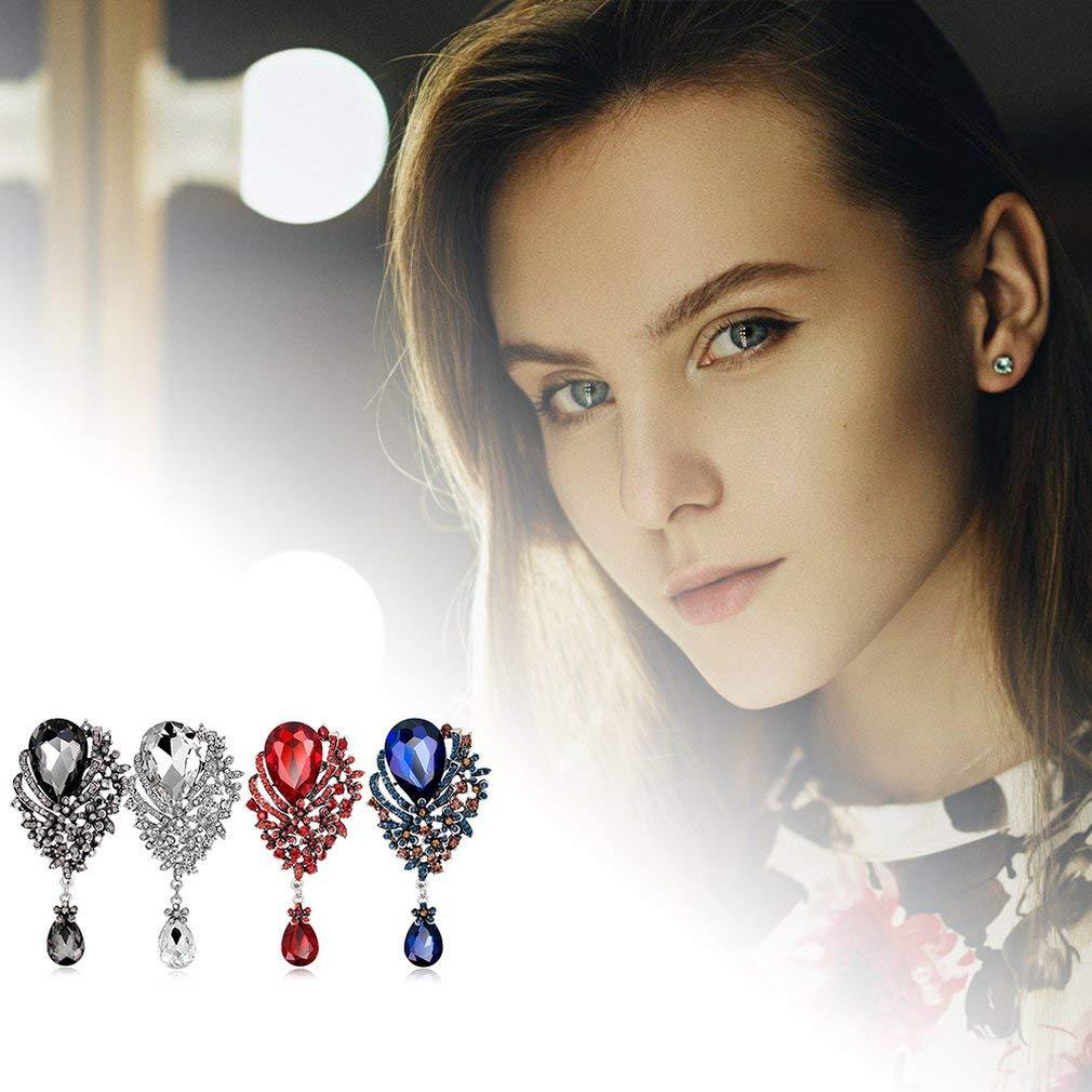 Rojo oyixianyuanchanbaihuoshang Accesorios De Vestido De Broche Colgante De Cristal De Ramillete De Mujer Joyas De Broche Salvaje Americana