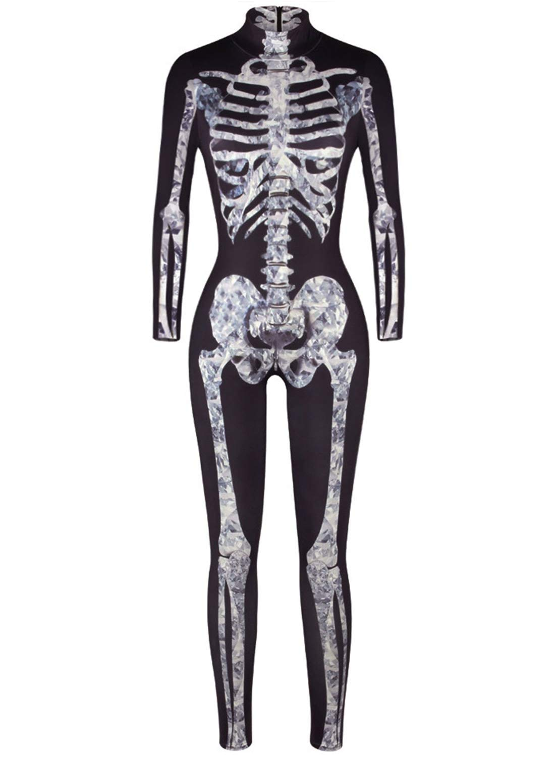 Uideazone Womens Halloween Cosplay Costume 3D Print Skull Skeleton Bodysuits Stretch Skinny Catsuit Overall Jumpsuit 61k0AvM5XML