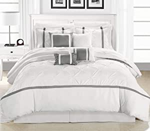 Chic Home 8 Piece Vermont Comforter Set, King, White