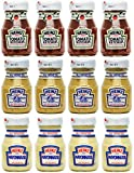 Heinz Ketchup Mustard Mayonnaise Glass Miniatures - Pack of 12 Bottles - 4 Bottles of Each Variety