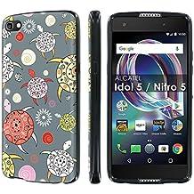 [Nakedshield] Slim Form Fit For [Cricket Exclusive] Alcatel Idol 5 [Black] Total Armor Rubber Gel Phone Case - [Pattern Sea Turtle] Print Design