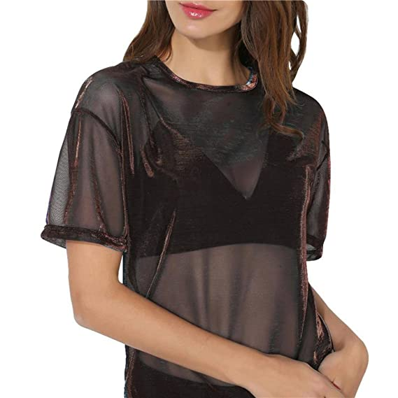Women Hollow Transparent Tops Round Neck T-Shirt Short Sleeve Blouse at Amazon Womens Clothing store: