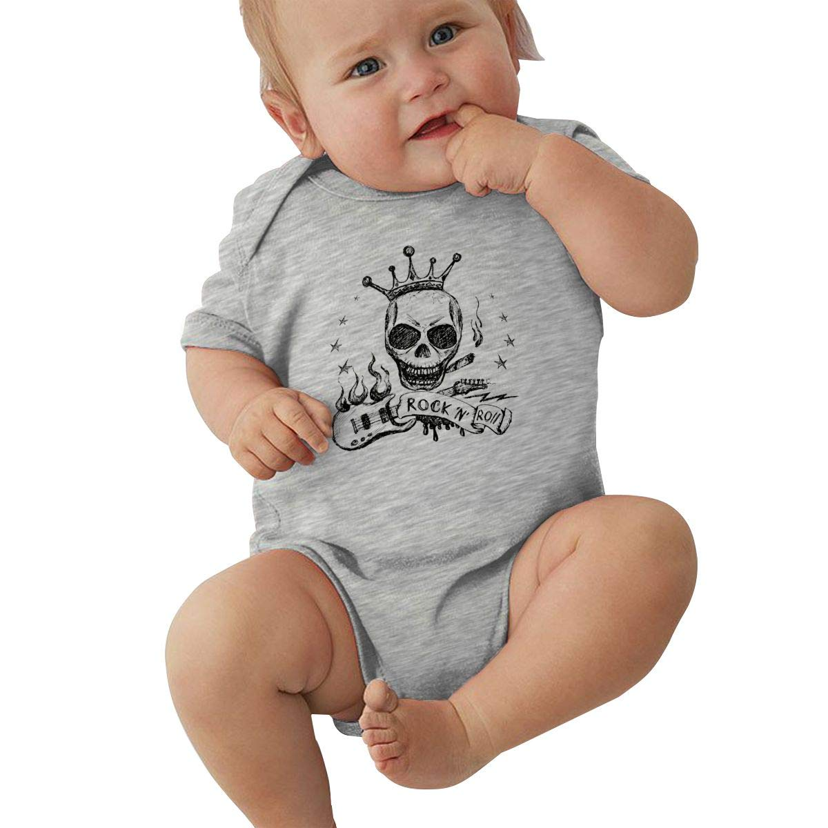 Rock and Roll Skull Guitar Infant Baby Jersey Bodysuit Short Sleeve Bodysuit Romper Cotton Outfits for 0-24 Months Baby