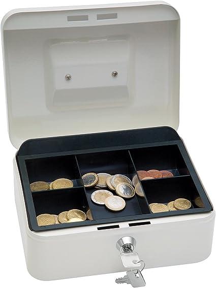 Wedo 200X - Caja metálica para dinero (2 llaves, soporte para monedas desprendible, acero soldado, tamaño 2), color blanco: Amazon.es: Oficina y papelería