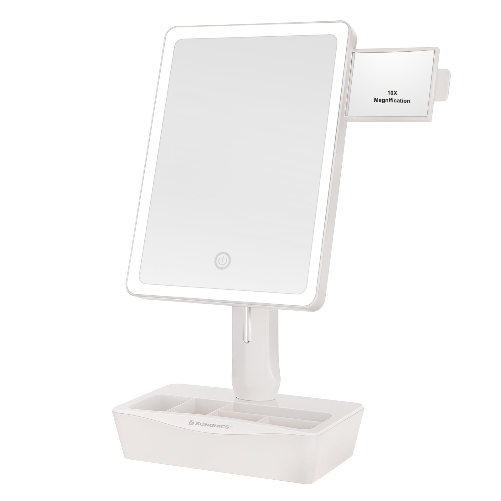 SONGMICS Large LED Lighted Makeup Mirror with Small 10x Magnification Vanity Mirror, Auto off Dimmable Light and Dual Power, Adjustable Stand with Cosmetic Organizer White UBBM10W by SONGMICS