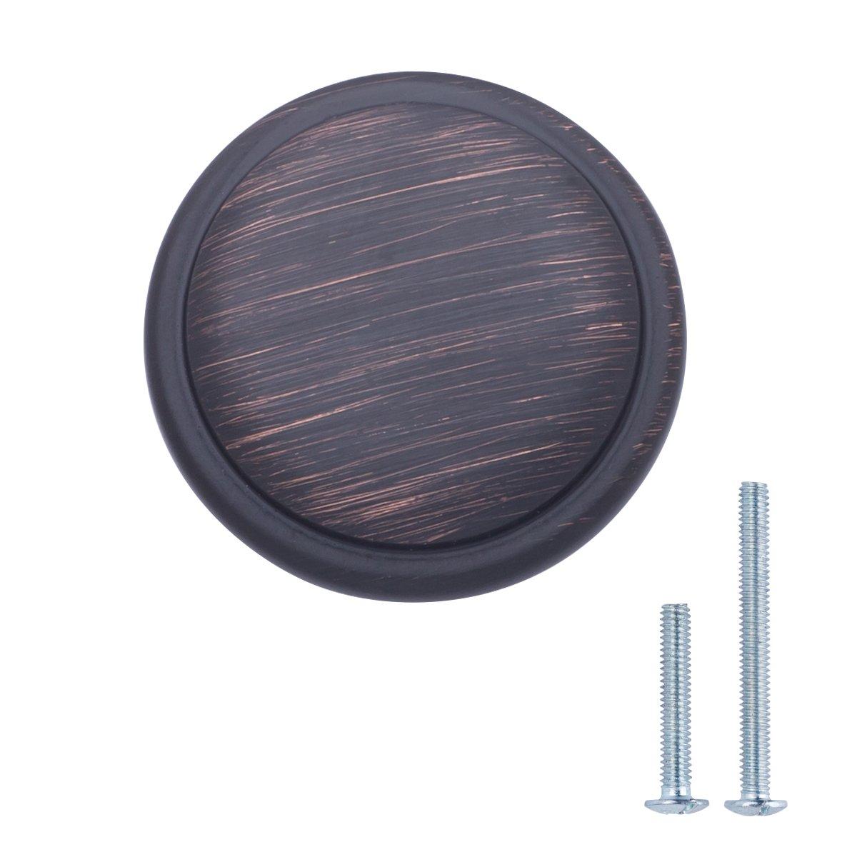 AmazonBasics Button Mushroom Cabinet Knob, 1.25'' Diameter, Oil Rubbed Bronze, 25-Pack