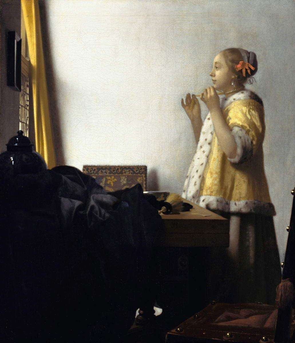 Berkin Arts Johannes Vermeer Giclee Lienzo Impresión Pintura póster Reproducción Print(Mujer Joven con un Collar de Perlas)
