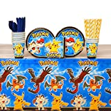Pokemon Party Pack for 16 Guests: Straws, Plates, Napkins, Cups, Cutlery, and Table Cover (Bundle for 16)