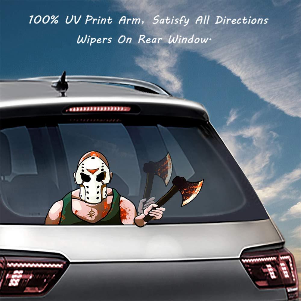 MIYSNEIRN Latest Masked Hatchet Killer Rear Wiper Decal Sticker Horror Bloody Mask Man Wiper Decal Tag Scary Waving Wiper Decal Tags for Rear Window Windshield Wiper Sctickers Car Rear Wiper Decals