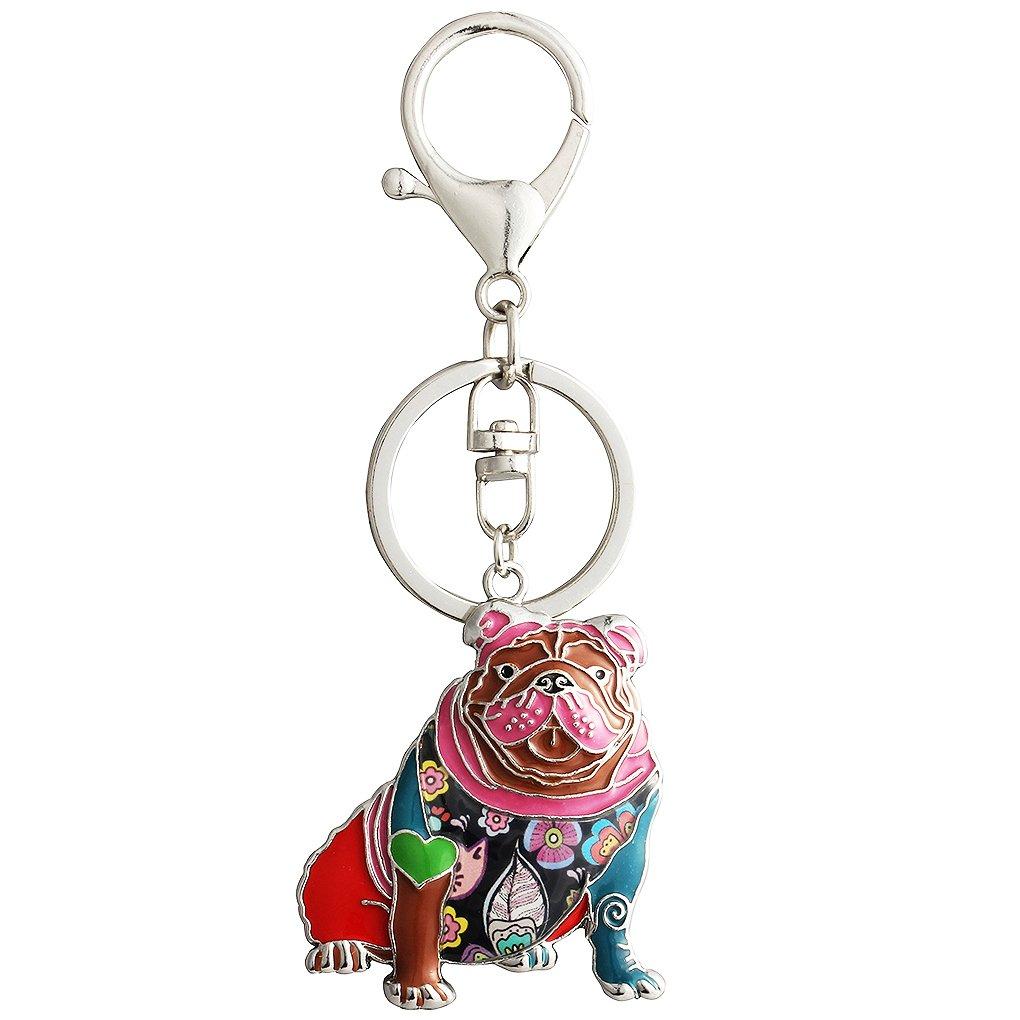 Luckeyui Unique English Bulldog Keychain Gifts for Women Dog Lovers Colorful Enamel Pets Keyring