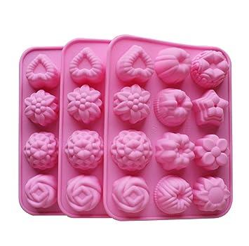 dingsheng - Molde para hornear molde de silicona para tartas, chocolate, gelatina, Pudding, moldes de postre, 12 agujeros con flores, forma de corazón: ...