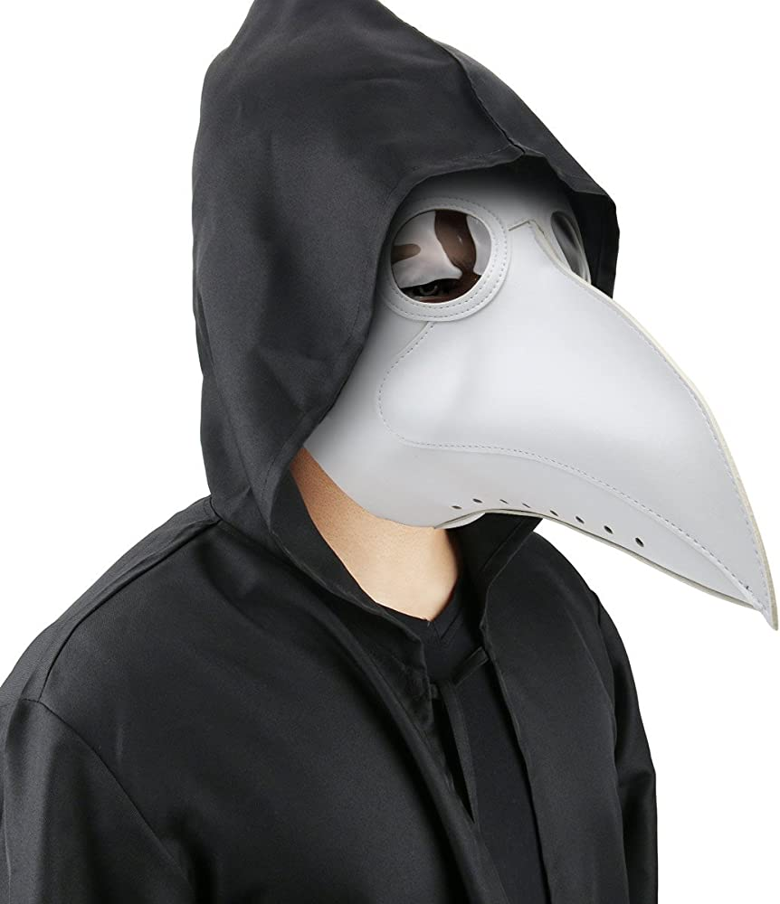 Plague Doctor Costume Mask Faux PU Leather Bird Beak Steampunk Halloween Cosplay Party Props