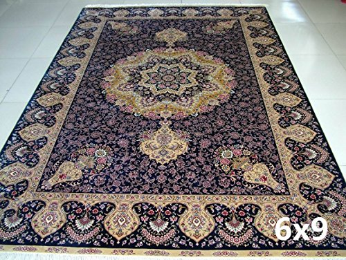 Yuchen 6'x9′ Turkish Silk Rugs Blue Tabriz Turkish Handmade Carpets for Living Room