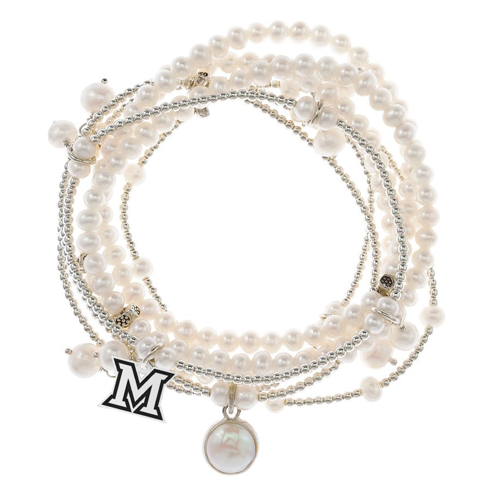 Miami of Ohio Redhawks 7 Strand Freshwater Pearl and Silver Bracelet