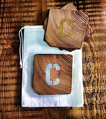 Personalized Set of Coasters Made from Reclaimed Wood. Letters A to Z.