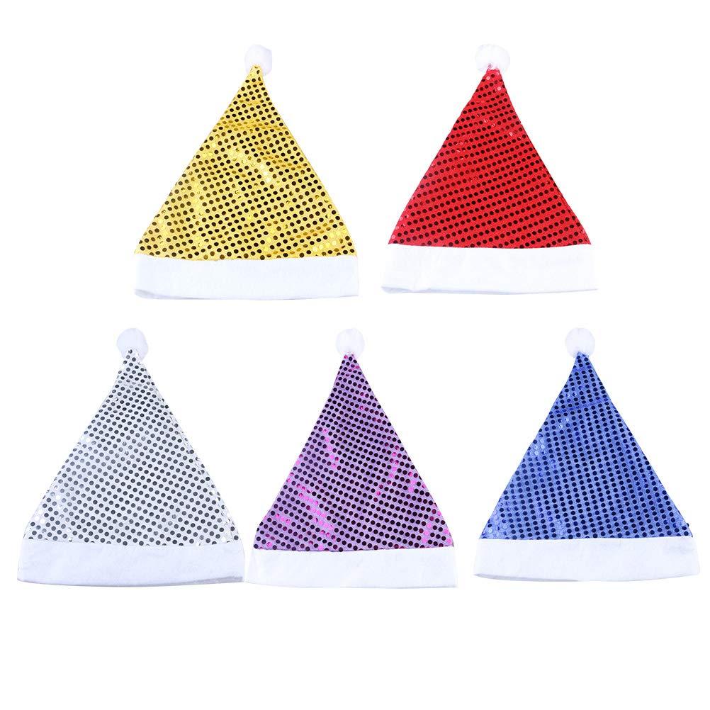 BESTOYARD 5PCS Cappello di Natale Glitter per Decorazioni Natalizie per Aduiti e Bambini