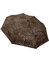 Totes Leopard Signature Basic Automatic Compact Umbrella (Brown)