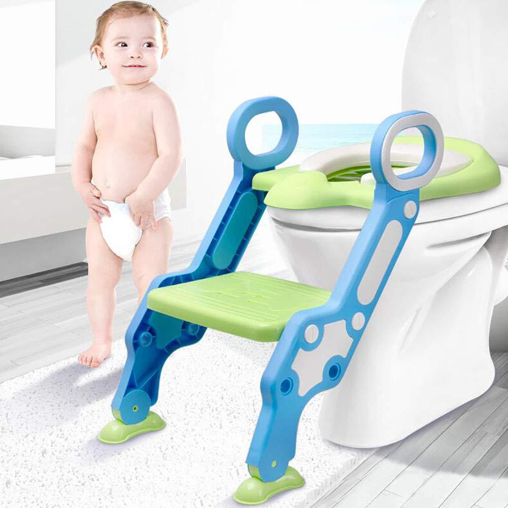 子供たち トイレはしご,可能 トイレトレーナー,(3 の 1) 子供幼児のためのトレーナー ハンドル 滑り止めパッド の 赤ちゃん 子-グリーン  グリーン B07MV8CHKC