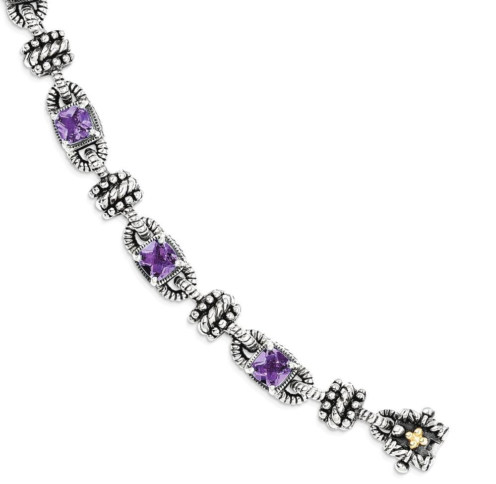 ICE CARATS 925 Sterling Silver 14k Purple Amethyst Bracelet 7.50 Inch Gemstone Fine Jewelry Gift For Women Heart by ICE CARATS (Image #2)