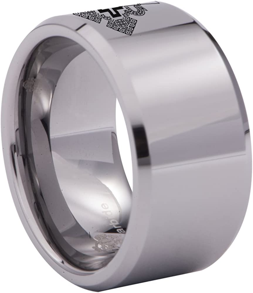 Friends of Irony Tungsten Carbide Ethiopian Cross Ring Wedding Band Anniversary Ring for Men and Women 12mm