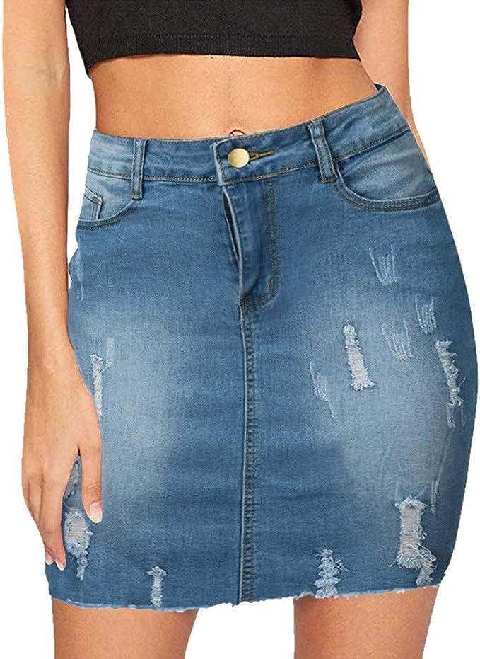 Lulupi Minigonna di Jeans Donna 2019 Estiva Spacco Chiusura con Bottoni Ripped Tinta Unita Vita Alta Moda Gonna Corta
