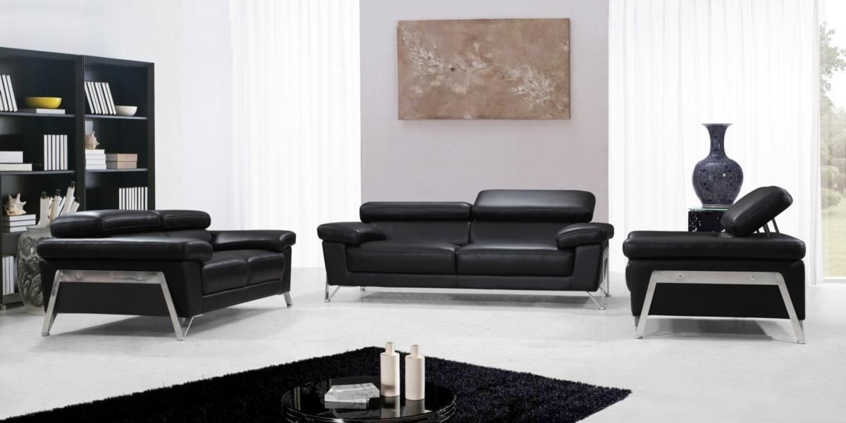 Amazon.com: Encore - Modern Black Leather Sofa Set: Kitchen ...