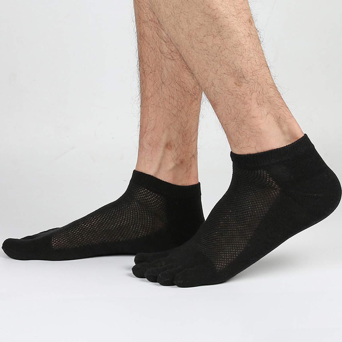Mens Toe Socks 5 Finger Cotton Mesh Wicking//Striped Crew,Low Cut 4//5 Pack