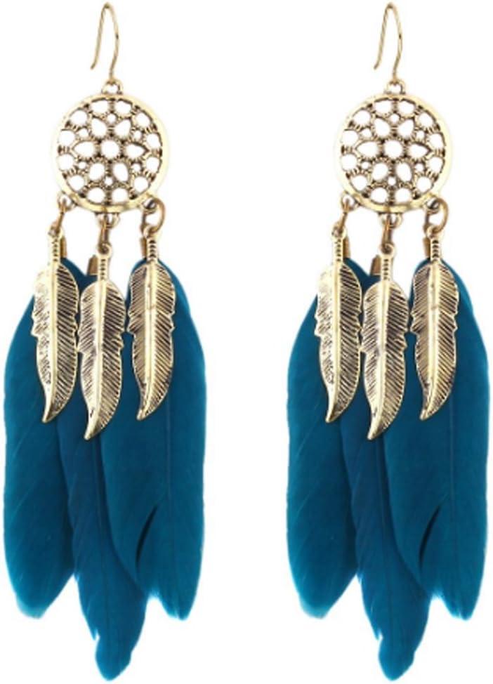 Dream Catcher Long Feather Drop Earrings Retro Tibetan SaySure