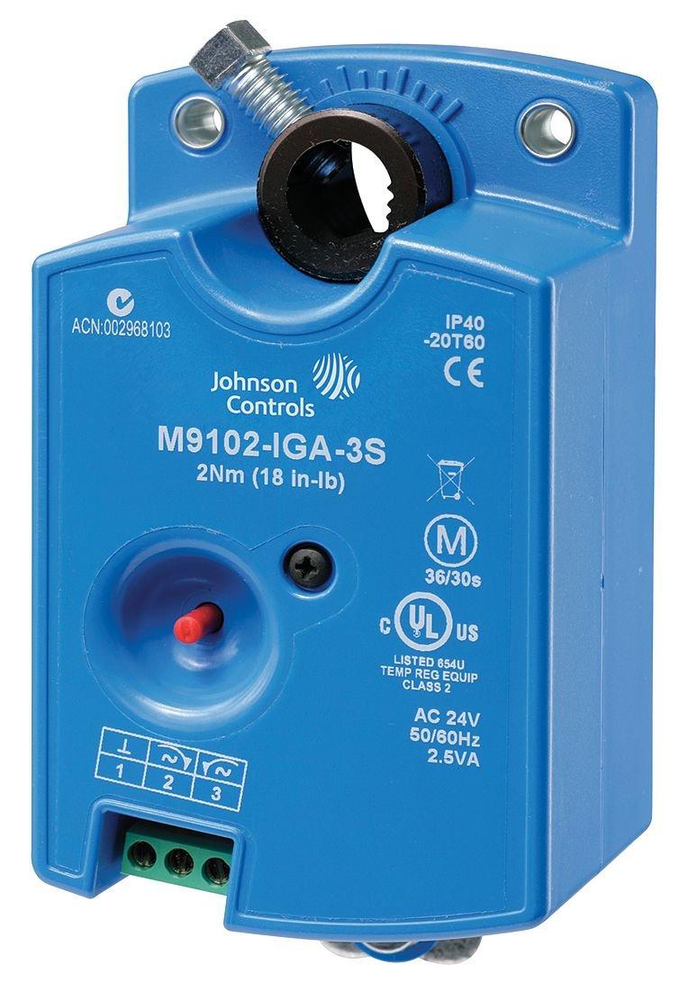 Johnson Controls M9102-IGA-3S Series M9102 Non-Spring Return Damper Actuator, M3 Screw Terminal, On-Off Floating Control W/Timeout, 18 Torque, 50/60 Hz, 24VAC