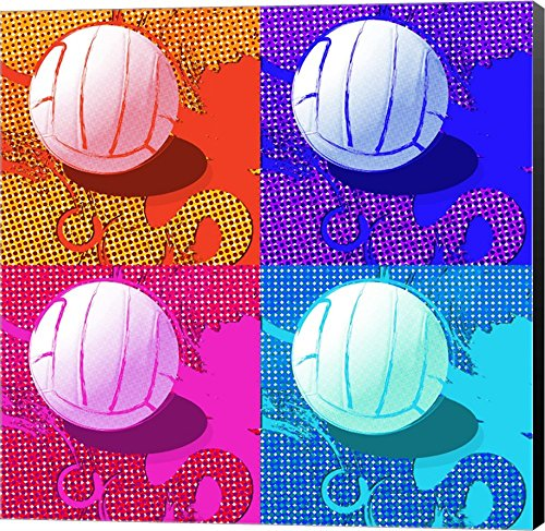 Volleyball Pop by Sports Mania Canvas Art Wall Picture, Museum Wrapped with Black Sides