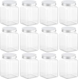 Axe Sickle 12 Ounce Clear Plastic Jars Storage Containers With Lids For Kitchen & Household Storage Airtight Container 12 PCS