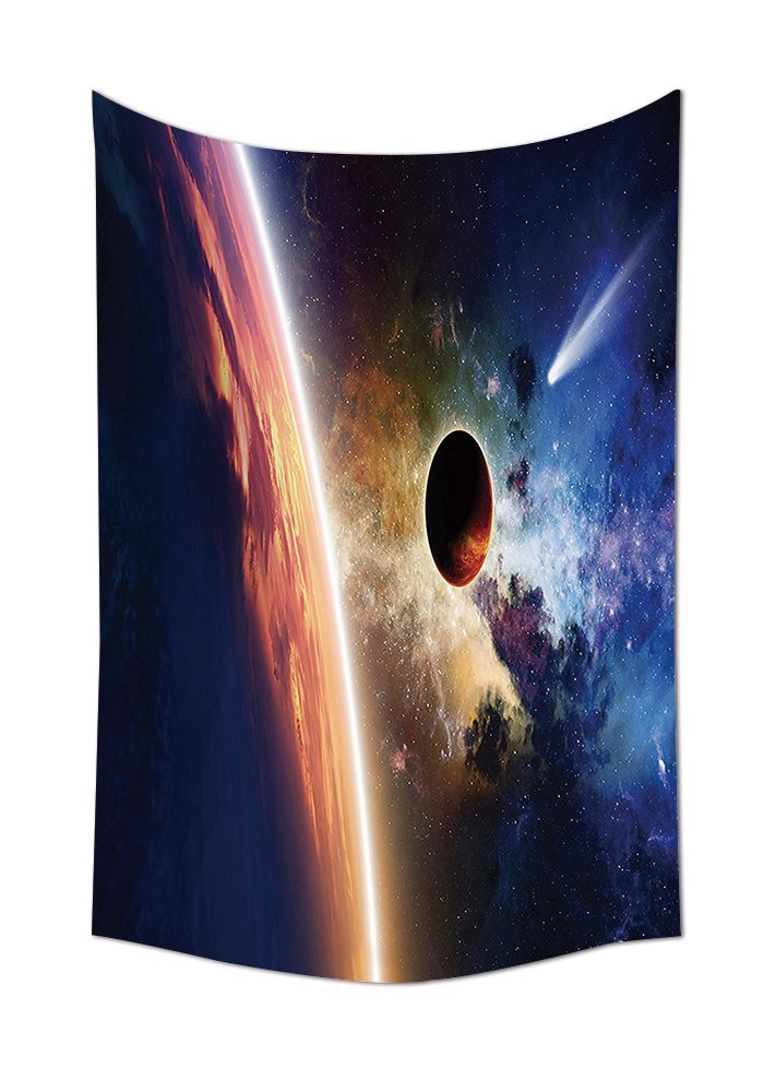 asddcdfdd Outer Space Decor Tapestry Wall Hanging Comet Approaches Planet Scientific Facts Realities in Solar System World Scene Bedroom Living Room Dorm Decor Red Blue