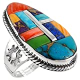 925 Sterling Silver Ring with Genuine Turquoise and Semiprecious Gemstones Sizes 6 to 13