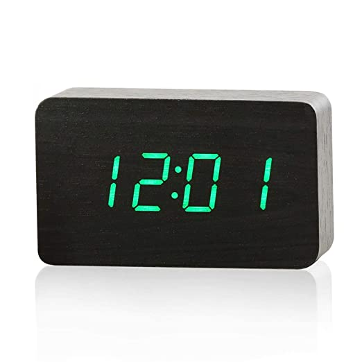 Amazon.com: Wood Alarm Clock Reloj Modern Temperature Desk Clock Electronic Desktop Digital Table Clock,Brown-Red: Home Audio & Theater