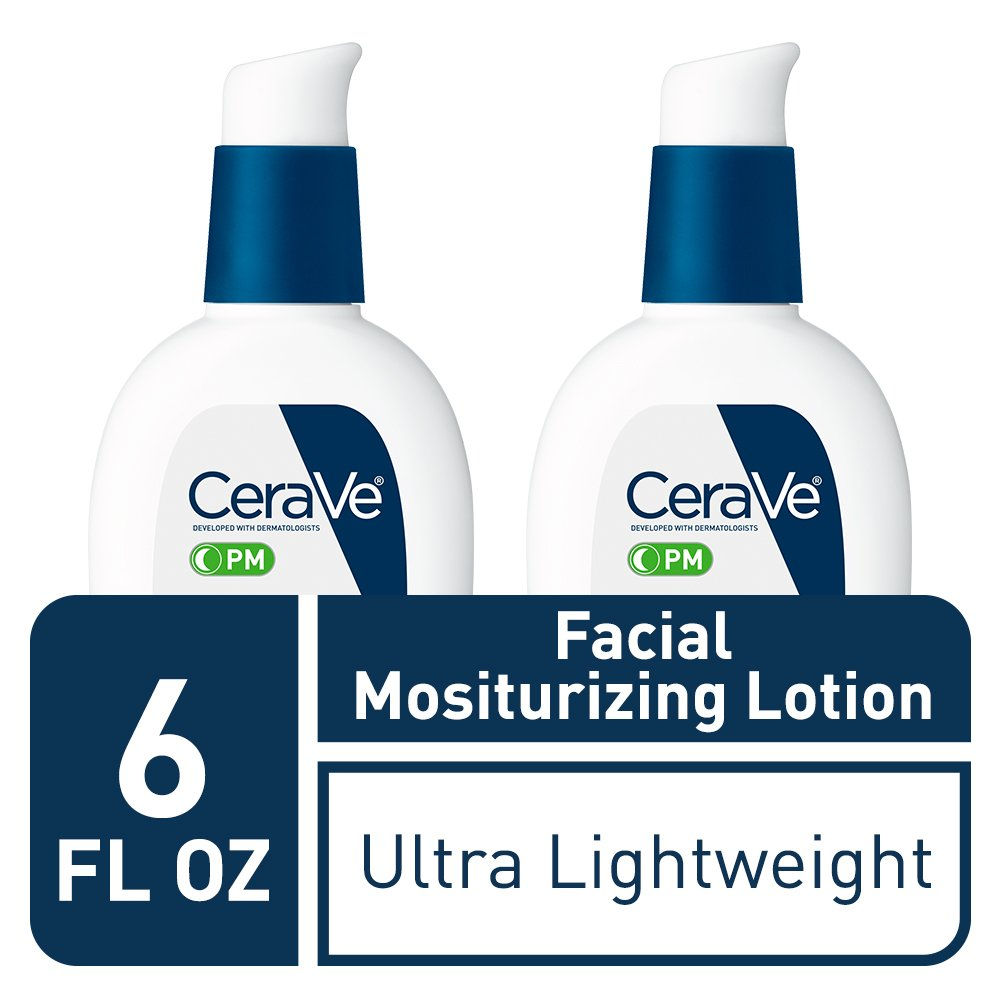 CeraVe Facial Moisturizing Lotion PM 3 Ounce Pack of 2 Ultra Lightweight, Night Face Moisturizer Fragrance Free