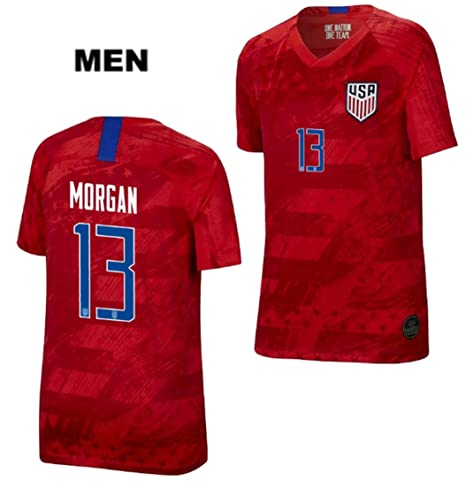 premium selection dbfc4 30d02 ZZXYSY Alex Morgan #13 2019 Women's World Cup USWNT Men's Away Soccer  Jersey/Short Colour Red