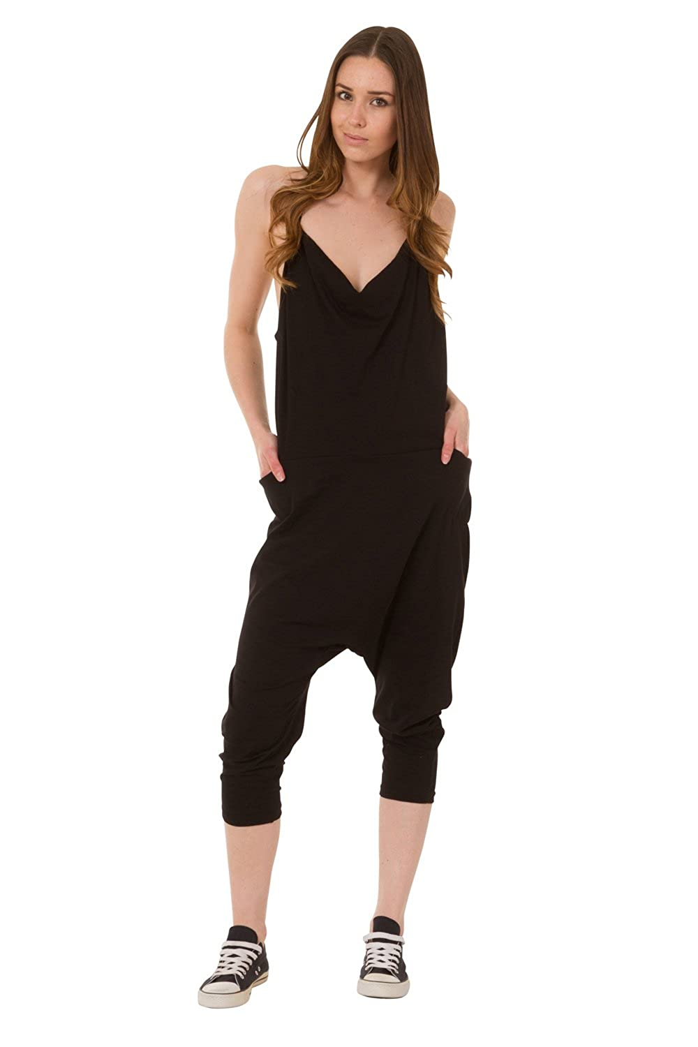 b6e2fb8725 Wash Clothing Company Jersey Jumpsuit - Black Lightweight Harem Pants  Stretch Relaxed Fit Playsuit CINDYBLACK-One Size: Amazon.co.uk: Clothing
