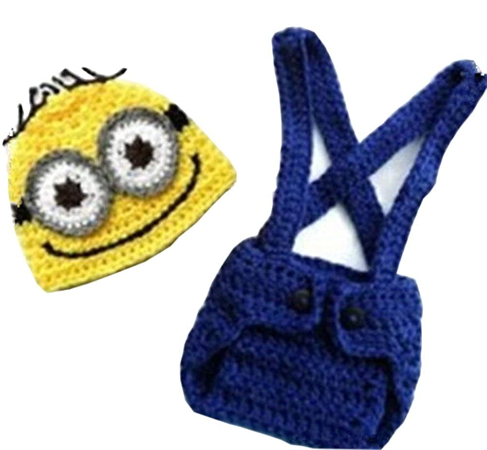 cc47acd369e Amazon.com  Pinbo® Baby Crochet Despicable Me Hat Diaper Minion Costume  Photography Prop  Clothing
