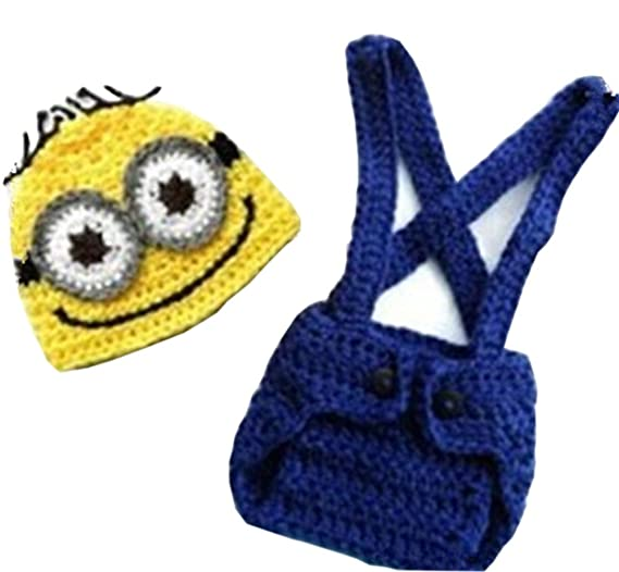 330c1cf123895 Image Unavailable. Image not available for. Color  Pinbo® Baby Crochet  Despicable Me Hat Diaper Minion Costume Photography Prop