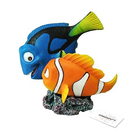 Amakunft Decoración para Acuario, Disney Buscando a Dory, Nemo pequeño Resina pecera Tanque Adornos