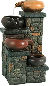 Sunnydaze Tiered Pitchers on Brick Steps Tabletop Water Fountain - Built-in LED Light - Rustic 10-Inch Living Room or Bedroom Decor - Electric Water Fountain Feature - Relaxing Desk Fountain